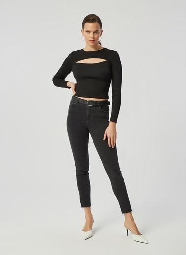 Monamoda Paçası Fermuarlı Yüksek Bel Likralı Jean Pantolon Füme